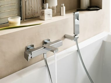 Wall-mounted chrome-plated bathtub mixer with hand shower LOOP | Bathtub mixer