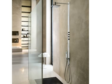 Thermostatic shower panel with hand shower with overhead shower LOOP | Shower panel with overhead shower