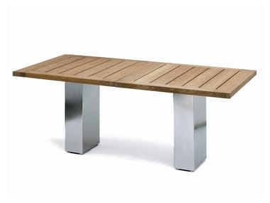 Classic style lacquered stainless steel garden table DOBLE | Teak table