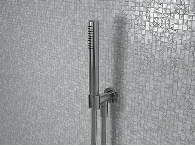 Wall-mounted metal handshower with anti-lime system with bracket FOLD | Handshower with bracket