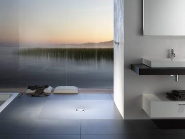 Piatto doccia filo pavimento quadrato in acciaio smaltato BETTEFLOOR | Piatto doccia quadrato