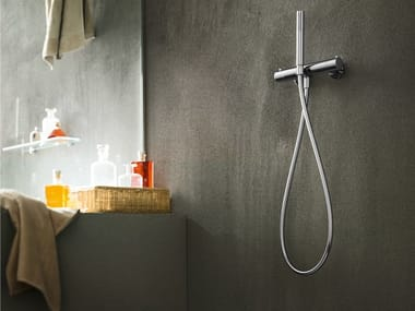 2 hole chrome-plated thermostatic shower mixer with hand shower PLUS | Thermostatic shower mixer