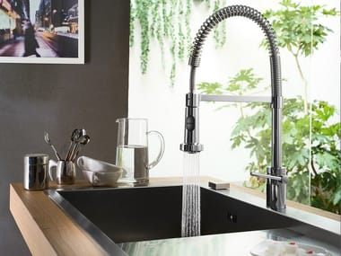 Chrome-plated kitchen mixer tap with pull out spray PLUS | Kitchen mixer tap with pull out spray