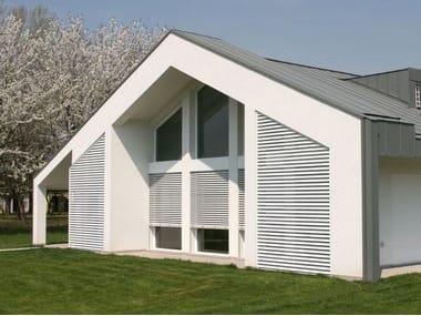 Adjustable aluminium solar shading with folding louvers Adjustable solar shading