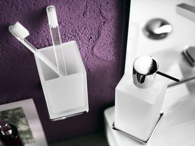 Porte-brosse à dents en verre gravé à l'acide CUBE | Porte-brosse à dents