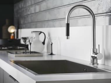 Chrome-plated kitchen mixer tap with pull out spray LIVE | Kitchen mixer tap with pull out spray