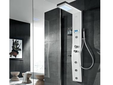 Multifunction steel shower panel with chromotherapy ETOILE 160