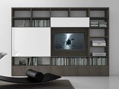 Sectional oak TV wall system Pari&Dispari - COMP 321