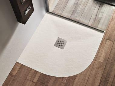 Piatto doccia angolare antiscivolo in resina FORMA | Piatto doccia angolare