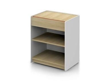 Low solid wood office storage unit LANDA | Office storage unit
