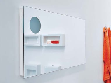 Rectangular wall-mounted mirror with integrated lighting SIMPLE 120 | Rectangular mirror