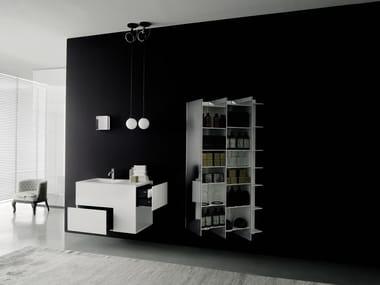 Élément mural pour salles de bains en Solid Surface avec miroir CTLINE | Meuble pour salle de bain