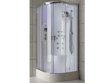 Multifunction shower cabin in aluminium and crystal glass NEW BI-SIZE