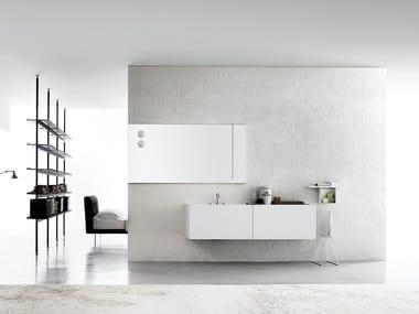 Mobile lavabo singolo sospeso in Corian® B20 / B21