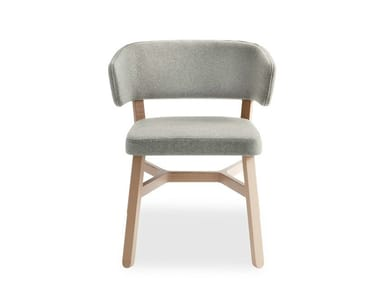Upholstered fabric chair with armrests CROISSANT | Chair with armrests