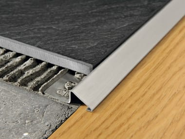 Brushed steel edge profile for floors PROSLIDER | Brushed steel edge profile