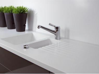 Solid Surface kitchen worktop / sink GETACORE® | 1 1/2 bowl sink