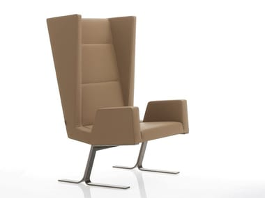 Upholstered leather armchair INKA STEEL S 200 ST S