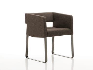 Sled base upholstered fabric easy chair with armrests INKA STEEL C 200 ST