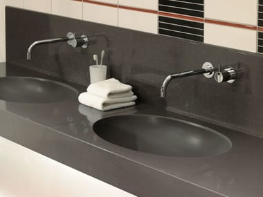 Double washbasin with integrated countertop GETACORE® | Washbasin with integrated countertop
