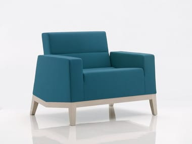 Upholstered fabric armchair with armrests INKA WOOD E 200