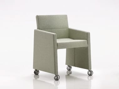 Upholstered easy chair with armrests with casters INKA WOOD B 300 R