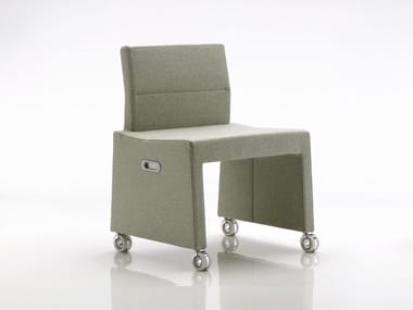 Upholstered fabric easy chair with casters INKA WOOD B 400 R