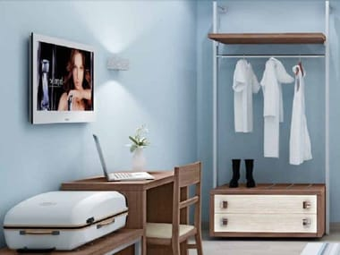Melamine-faced chipboard wardrobe with drawers for hotel rooms ZEUS | Wardrobe with drawers