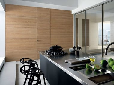 Hinged flush-fitting oak door GDESIGNER | Flush-fitting door
