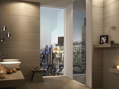 Hinged flush-fitting mirrored glass door BISYSTEM | Mirrored glass door