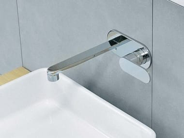 Wall-mounted washbasin mixer with plate ONE | Washbasin mixer with plate