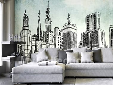 Contemporary style motif nonwoven wallpaper SKYLINE