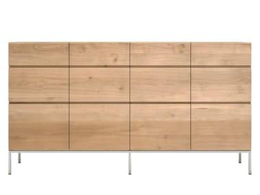 Solid wood high sideboard with doors OAK LIGNA | Sideboard