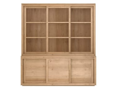 Solid wood highboard with sliding doors OAK PURE   Highboard with sliding doors