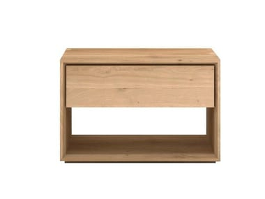 Solid wood bedside table with drawers OAK NORDIC | Bedside table