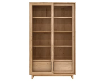 Solid wood display cabinet OAK WAVE | Display cabinet