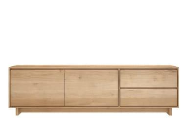 Low solid wood TV cabinet OAK WAVE | TV cabinet