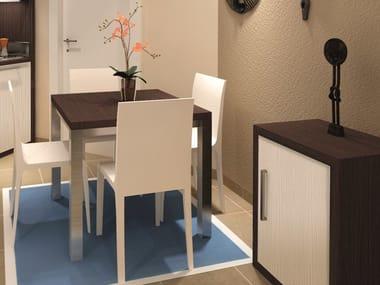 Tavolo quadrato in nobilitato per contract TECNO | Tavolo quadrato