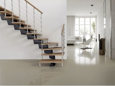 L-shaped U-shaped self supporting steel cantilevered staircase GENIUS 040 | Open staircase