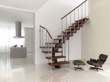 L-shaped U-shaped self supporting steel cantilevered staircase GENIUS 050 | Open staircase