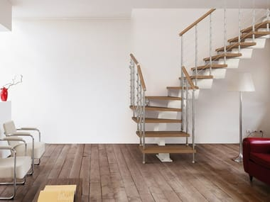L-shaped U-shaped self supporting steel cantilevered staircase GENIUS 060 | Open staircase