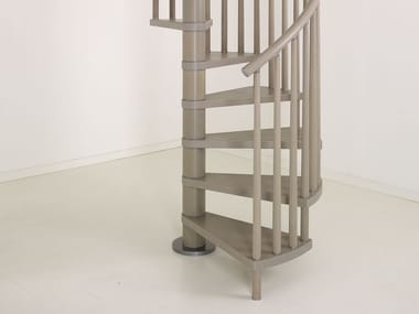 Stainless steel and wood Spiral staircase GENIUS 070 | Spiral staircase