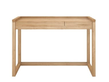 Rectangular oak writing desk with drawers OAK FRAME | Writing desk