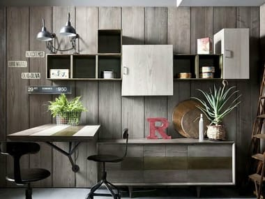 Sectional lacquered floating bookcase 5PUNTO7 | Bookcase