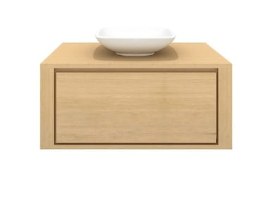 Single wall-mounted solid wood vanity unit OAK SHADOW | Single vanity unit
