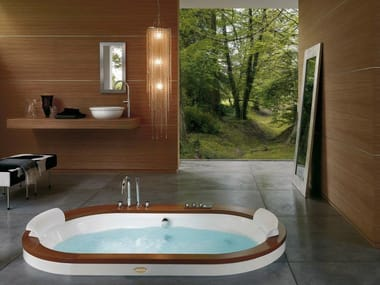 Vasca da bagno idromassaggio ovale da incasso OPALIA WOOD / STONE