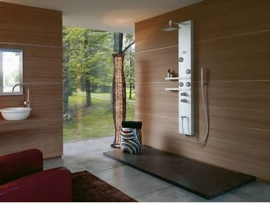 Multifunction shower panel with hand shower with overhead shower EGO