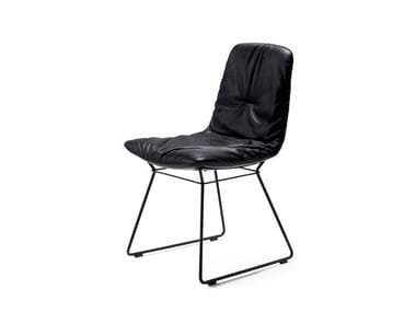Sled base upholstered leather chair LEYA