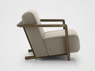 Technical fabric armchair with armrests OSSAU | Armchair