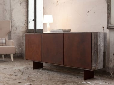 Burnished iron sideboard with doors KIM